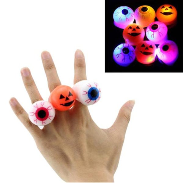 Halloween Party decoration Glow pumpkin Eyes Ring toy cartoon eyesball led finger ring with plastic safety LED supplies