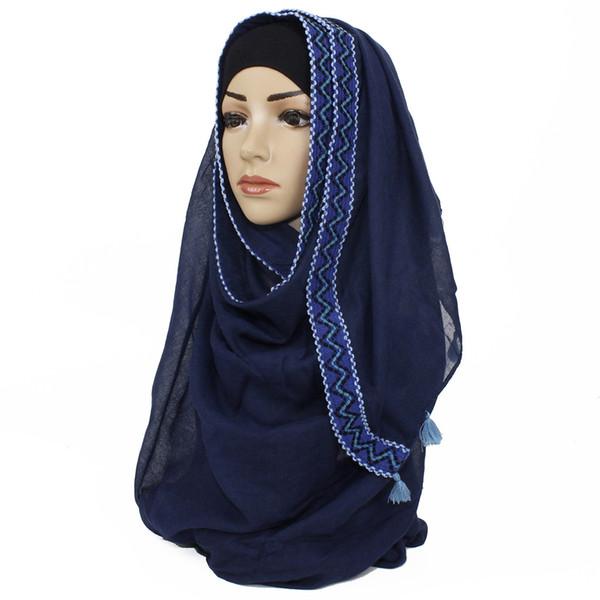 Monochrome cotton and hemp scarf border tassel foreign trade popular gauze scarf Muslim scarf Muslim woman