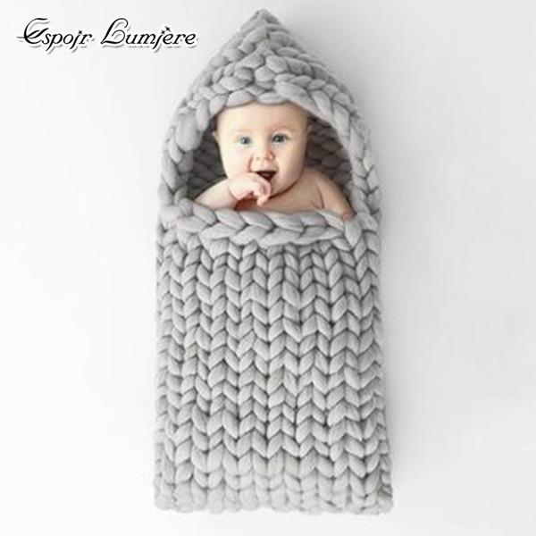 Bebek Uyku Tulumu Tıknaz Örgü Bebek Duş Hediye Yenidoğan Fotoğraf Dikmeler Tığ battaniye Katı Nordic Merinos Rahat Bebek Uyku