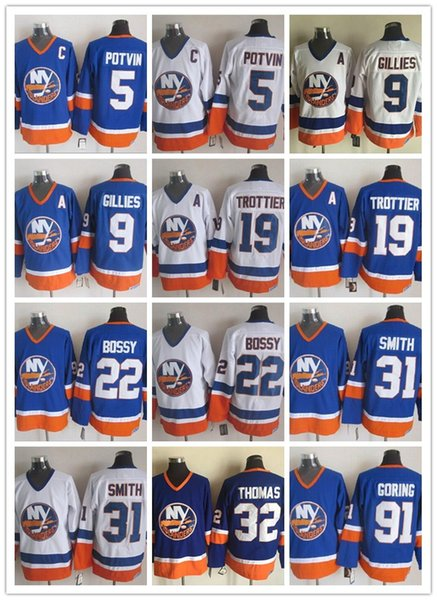 best selling CCM Newest Men Stitched New York Islanders #5 POTVIN #9 GILLIES #19 TROTTIER #22 BOSSY #31 SMITH 91 GORING Blue White CCM Ice Hockey Jerseys