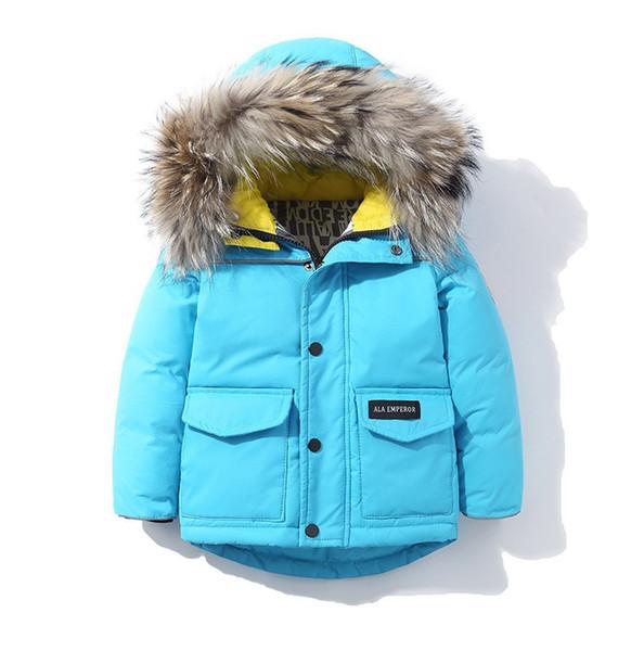 2018 New Child school girl boy jacket fur hooded kids ski down coat thickening jacket for Russia winter 3 6 8Y baby boy girl