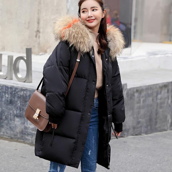 2018 Nuevo otoño invierno mujer damas extraíble de piel con capucha larga chaqueta abajo de algodón grueso Parkas mujer largo abrigo cálido abrigo