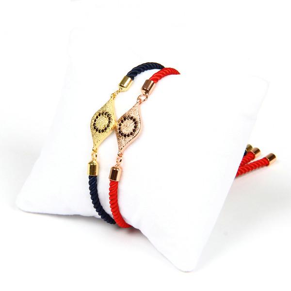 Vente chaude Bracelets En Gros 10pcs / lot Haute Qualité Noir Cz Turc Chanceux Oeil Chaîne Bracelet Pour Les Couples Bijoux