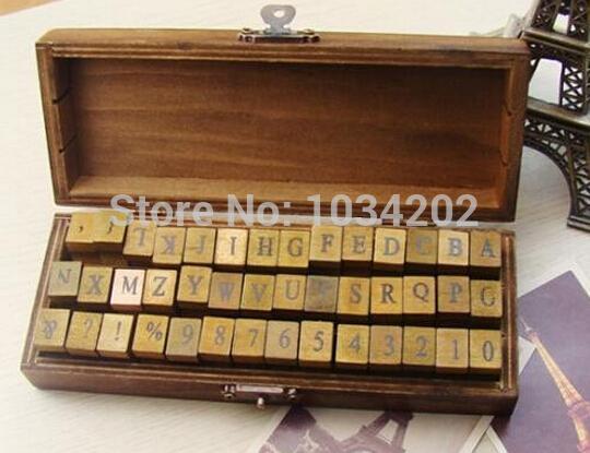 DHL Freies verschiffen 50 satz 42 teile / satz Alphabet stempel Kreative buchstaben und zahlen stempel geschenkbox / holz stempel / holzkiste