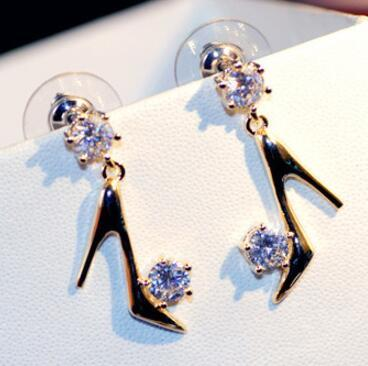 2017 Fashion 18k Gold Filled High heels Earrings for Women Super Flash Cubic Zirconia Drop Dangle Earrings S925 Silver Pin Jewelry