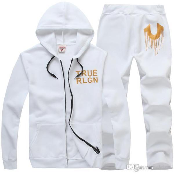 Großhandelsmänner Hip Hop Druck Hoodies Strickjacke Freizeit Mantel Beliebte Marke Weiß Schwarz Hoodies Sets Plus Größe 3XL Mit Hoher Qualität