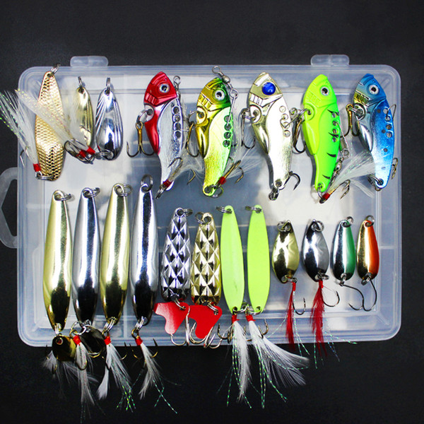 20Pcs Multi Fishing Lure Mixed Colors Lure Iscas Artificial Metal Sequins Bait With Hooks Lure Kit Fishing Tackle Pesca Mepps