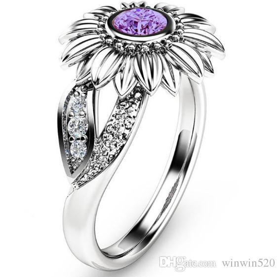 Sunflower Color Zircon Ring New Diamond Crystal Gold Plated Gem Lovers Marry Ring Fashion Temperament Upscale Women Jewelry Gift Spot 8 Size