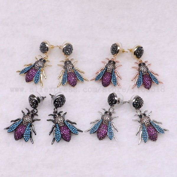 ALLGT 3 Pairs Fly Bugs Earrings Bee Dangle Chandelier with Studs Gift for Lady Insect Earrings Colorful Jewelry