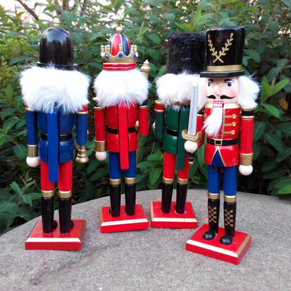 Manualidades de madera Cascanueces de Navidad Marioneta 4pc / Set Decoraciones navideñas Regalos de cumpleaños para niños Girl Place Arts Envío gratis