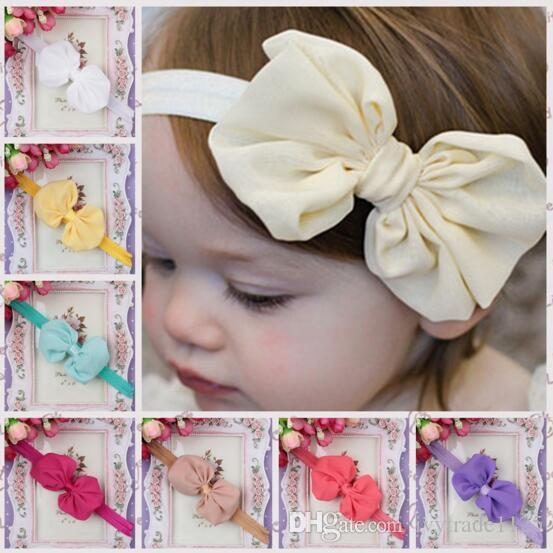 14 colors baby girl candy color big bow headband Design Hair bowknot Children solid color hairbands Girls Hair Clips Baby Hair Accessory