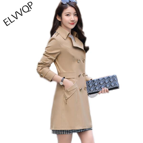Langen Trenchcoat Für Frauen 2018 Neue Casual Zweireiher Casaco Mode Schlanke Feminino Herbst Oberbekleidung Abrigos Mujer LF636