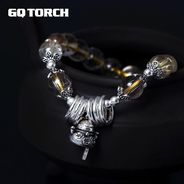 GQTORCH 925 Sterling Silver Natural Crystal Bracelet For Women Gold Rutilated Quartz Beads With Fortune Cat Hand String Bling