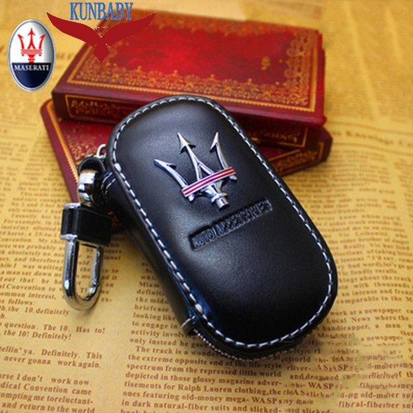 KUNBABY Männer / Frauen Autoschlüssel Tasche Schlüsselketten Fall Halter Rindsleder Schlüssel Brieftasche Für Maserati 1 Kostenloser Versand