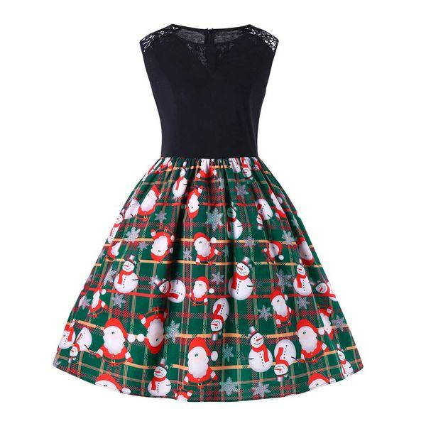 Women Merry Christmas Sleeveless Dress Sexy Female Casual Santa Snowman Claus Print Party Swing Dress Plus Size vestidos