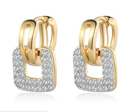 Fashion Design Small Huggie Hoop Earrings for Womens Cluster Paved Zirconia Crystal Stone Earing Jewelry 2016 MLE218