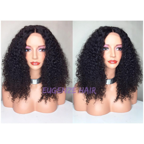 Pretty beautiful 100% unprocessed virgin remy human hair long natural color afro curly full lace cap wig for women