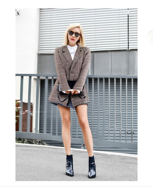 2018 winter fashion new women's retro plaid casual suit jacket long-sleeved stitching single-breasted suit collar loose ladies coat