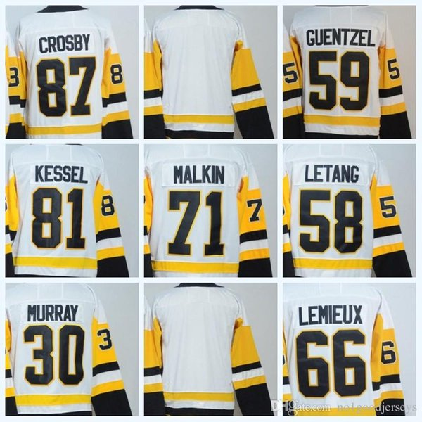 2017-18 Hombres 87 Crosby 66 Lemieux 59 Guentzel 30 Matt Murray 81 Phil Kessel 71 Evgeni Malkin 58 Kris Letang blanco Jersey blanco