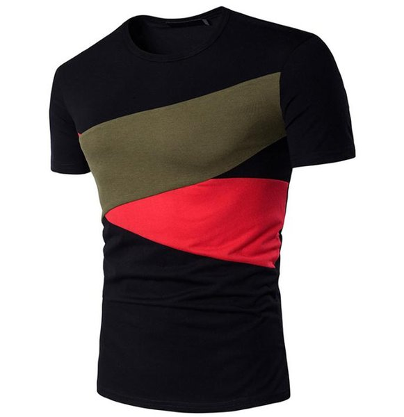 2018 European and American new men's chest patch round neck short sleeve men's T-shirt