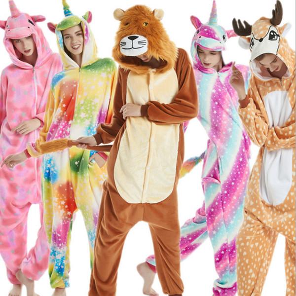 Adult's Flannel Kigurumi Tiger Unicorn Lion Sika Deer Fox Pajamas Unisex Onesie Costume for Halloween Carnival New Year Party