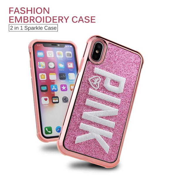 Rosa case für iphone xs max xr samsung galaxy note 9 s9 plus mode bling 3d stickerei glitter luxus shinny handy abdeckungen