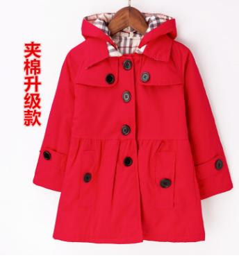 best selling 2018 new children's clothing girl spring and autumn princess coat solid color medium-long single breasted trench babys outerwear
