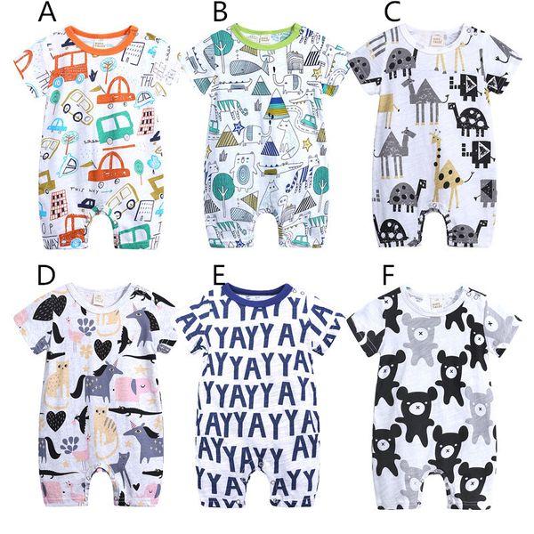 0851f85fea9 Baby cute cartoon animal printing romper summer short sleeve onesie 0-2T  whale unicorn elephant giraffe cat car infants clothing ins hot