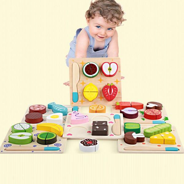 Atacado De Madeira Pretend Play Brinquedos Clássicos Alimentos Frutas Blocos De Corte De Cozinha De Madeira Brinquedos Para Crianças de Aprendizagem Precoce Crianças Brinquedos Venda Quente