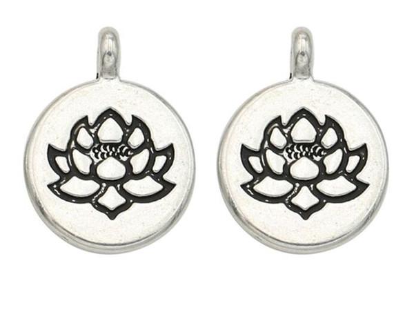 100 unids / lote plata plateó la aleación colgantes de los encantos de la flor de loto para accesorios de joyería haciendo hallazgos 20x15 mm