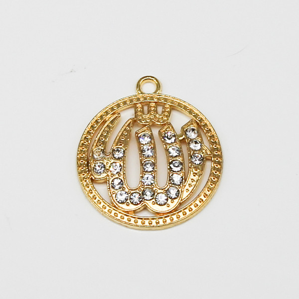 30pcs mixed color gold and silver religious Muslim Islamic charm diamond pendant necklace bracelet DIY jewelry making handmade