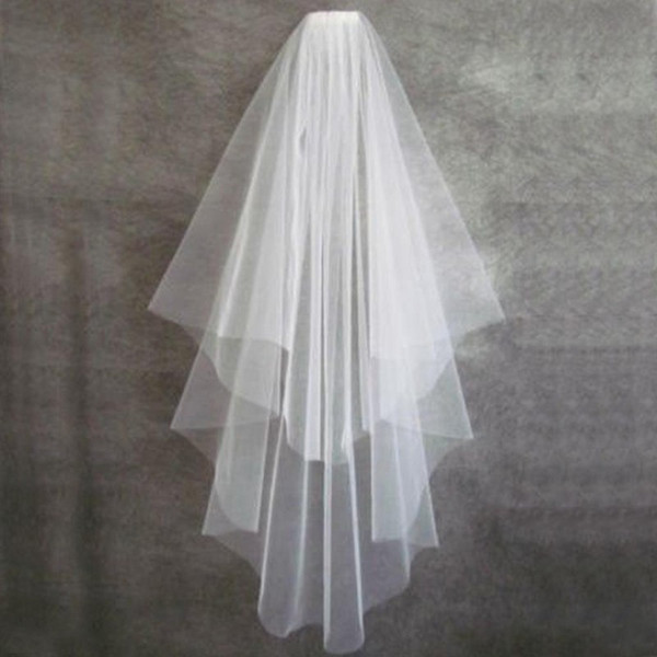 Simple Short Veil Two Layers White Ivory Champagne Bridal Veils Elbow Length with Comb Custom Made Free Shipping