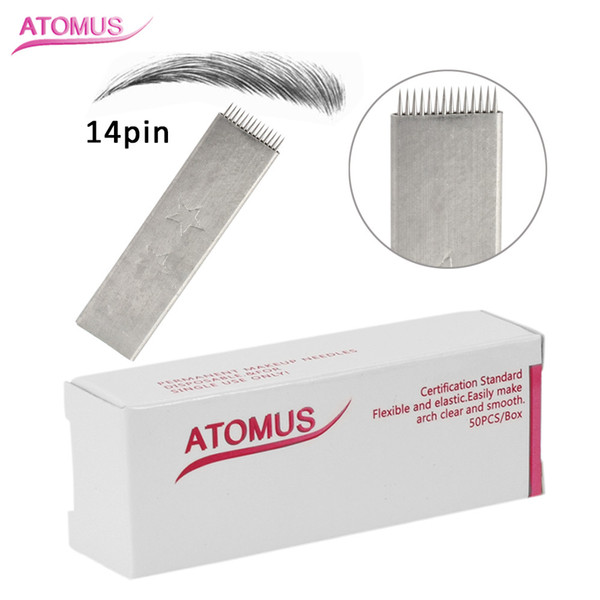 50pcs 14 Pin Flat Head Stitch Shape Microblading Needles 14 Pins Tattoo Needles Curved For Mermanent Makeup Eyebrow Pen Machine White