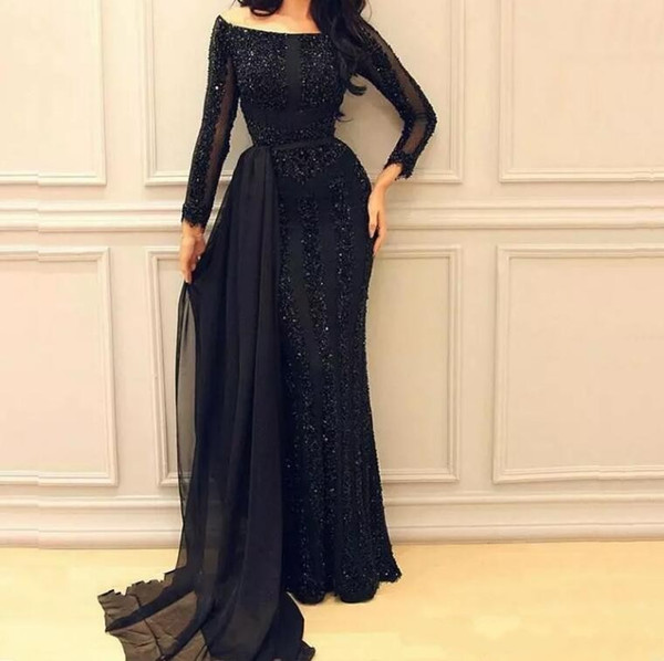 African Arabic Black Formal Evening Dresses Long Sleeves Sequined Prom Gowns Vintage Floor Length Pageant Dress with Chiffon Train