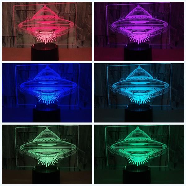 Led 3D летающая тарелка Night Light НЛО форма семь цветов сенсорный пульт дистанционного управления чужеродных Spacecraf самолет лампа ребенок День Рождения огни 25zy jj