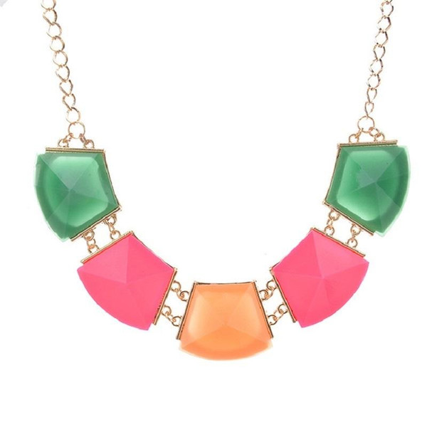 Fashion Resin Green Choker Necklace Vintage Geometric Bohemian Ethnic Clavicle Black Big Gem Necklaces For Women Jewelry Gift