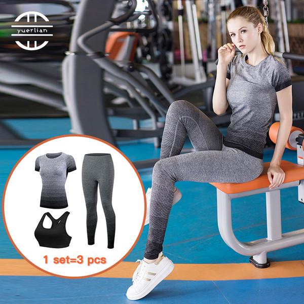 2017 New Stripe Gradient Women Yoga sets Running Set Quick Dry Trucksuit Sport (T-shirt +Bra +Pant ) Black Gym Stretch Clothing