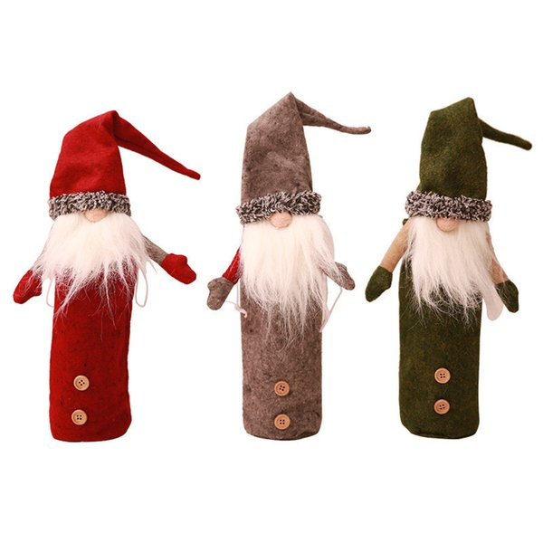 Christmas Wine Bottle Cover Xmas Decrations Faceless Plush Doll Wine Bags Elf Beard Dolls Dinner Party Decora Household KTV Bar Ornament