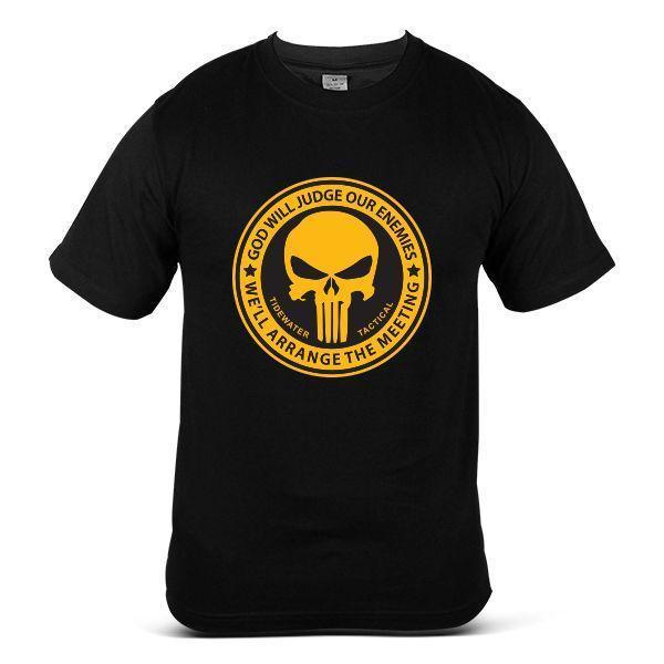6398-БК Каратель призрак череп комический супергерой мода черный мужская футболка Футболка