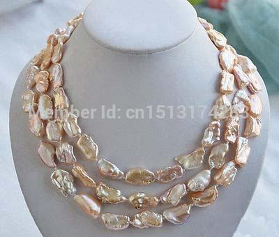 무료 배송 3row 20mm PINK BAROQUE KESHI REBORN biwa PEARL NECKLACE17-18-19