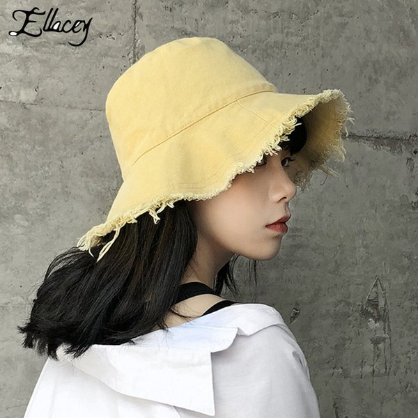 Ellacey 2018 Summer Harajuku Ripped Bucket Hat Fishing Hat Female Cool Panama Women's Caps Foldable Washed Cloth Cap For Girl