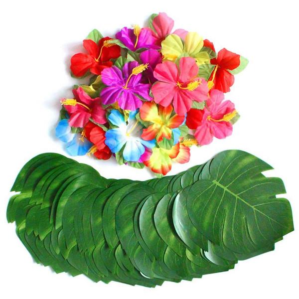 Diy 30 stücke Künstliche Tropische Palmblätter 24 stücke Hibiskus Blume Hawaiian Jungle Beach Thema Garten Hochzeit Dekoration