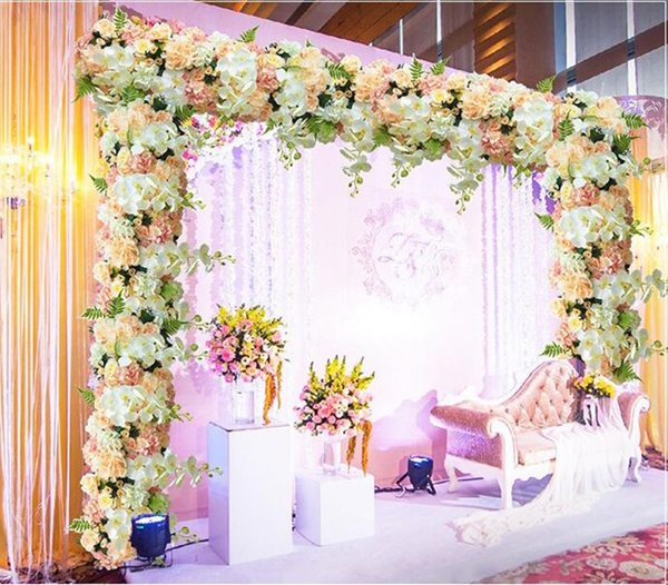 Elegant Artificial Arch Flower Row Table Runner Centerpieces String for Wedding Party Road Cited Flowers Decoration