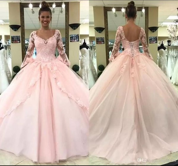 2019 Pink Quinceanera Dresses Long Trumpet Sleeve Jewel Neck Illusion Bodice Appliques Sequins Beads Gowns For Sweet Vestido De Fiesta