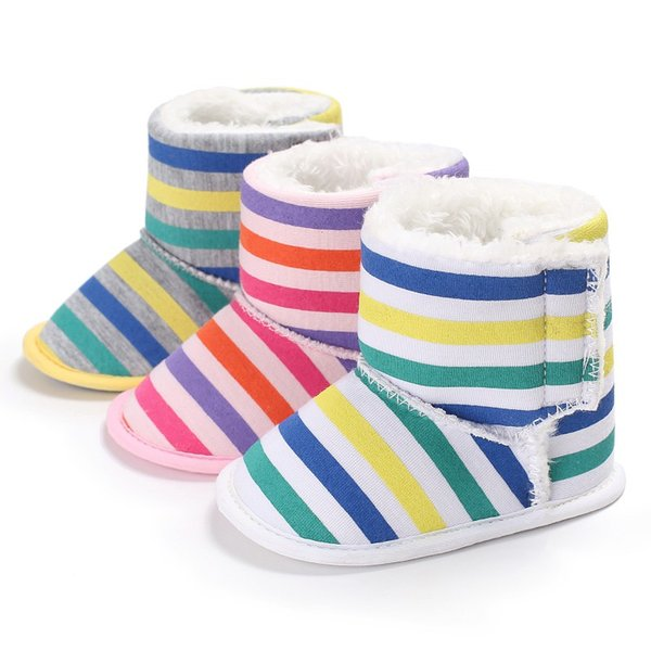 Newborn Baby Girls Boys Snow Boots Kids Stripe Colors Infant Toddler 2017 Autumn Winter New Warm Shoes