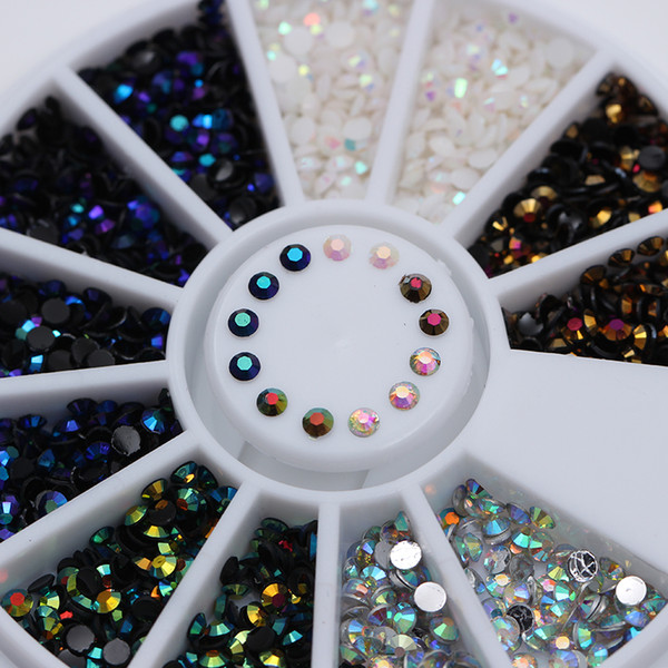 1 Box 2mm AB Crystal Rhinestones Flat Bottom Round 5 Colors Manicure 3D Nail Art Decoration
