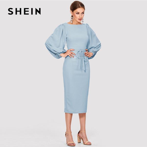 SHEIN Elegante Workwear Azul Sólida Gravata Cintura Lanterna Manga Barco Pescoço Nó Zipper Lápis Vestidos Mulheres Bainha Fina Outono Vestido