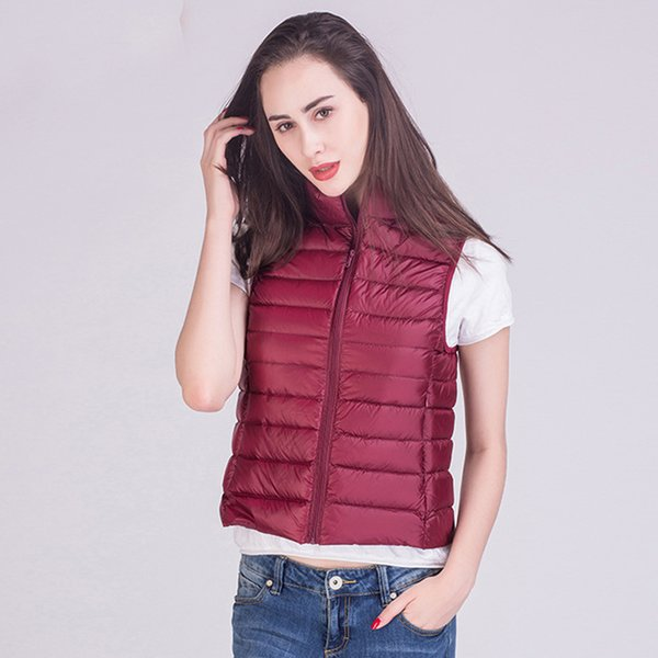 Johnature 2018 Winter New 90% White Duck Down Vest Stand Collar Warm Slim Zipper Women Fashion Down Jacket 12 Colors S-3XL L18100902