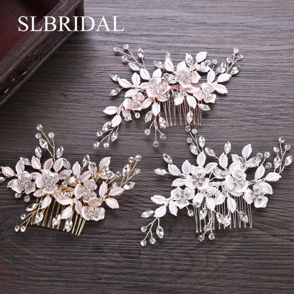 comb bridal SLBRIDAL Handmade Crystal Rhinestones Flower Leaf Wedding Jewelry Comb Bridal Headpieces Hair Accessories Bridesmaids Women