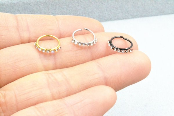50pcs Body Jewelry Piercing - Crystal Lip Labret Ring Ear Helix Daith Cartilage Tragus Earring Nose Septum Ring Bend 20gx8mm NEW